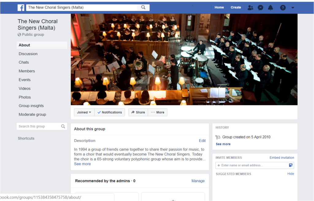 Facebook The New Choral Singers (malta)